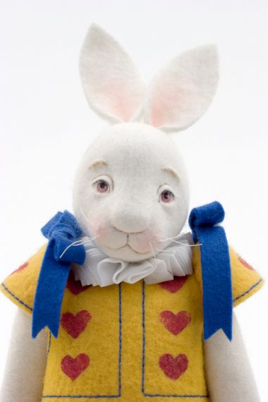 Alice and Rabbit - collectible limited edition felt molded art doll by doll artist Maggie Iacono.