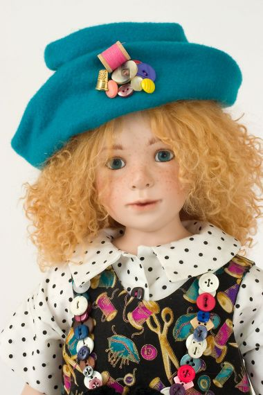 Buttons and Bows - collectible limited edition porcelain soft body art doll by doll artist Julia Rueger.