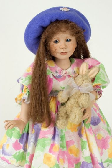 K. C. - collectible one of a kind porcelain soft body art doll by doll artist Julia Rueger.