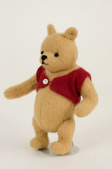 Christopher Robin and Pocket Pooh Set - collectible limited edition felt molded art doll by doll artist R John Wright.