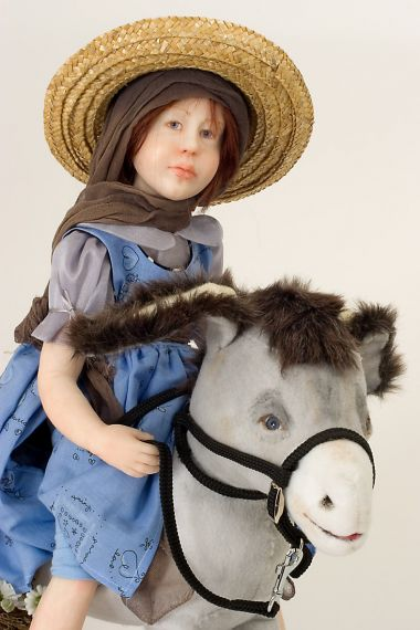 Marsha with Donkey - collectible one of a kind polymer clay art doll by doll artist Odile Segui.