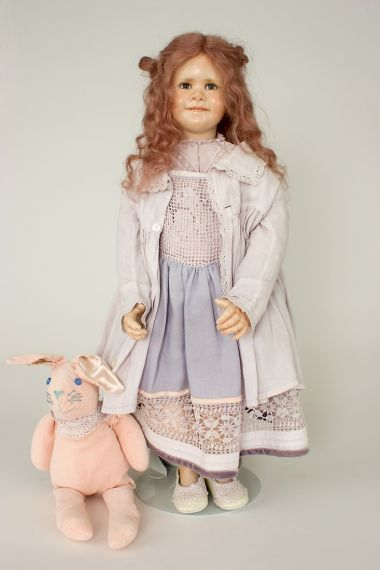 Primrose - collectible one of a kind porcelain wax over art doll by doll artist Susan Krey.