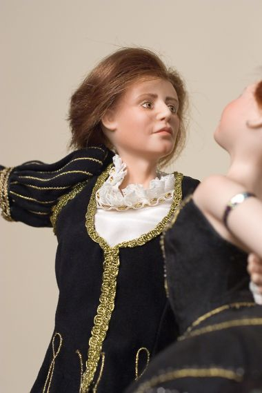 Andre' and Zofia - collectible limited edition porcelain art doll by doll artist Margaret Mousa.