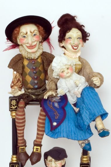 Punch and Judy - collectible one of a kind porcelain wax over art doll by doll artist Lucia Friedericy.