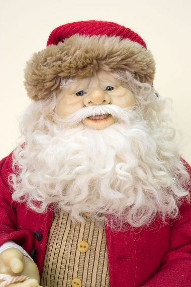 Santa - collectible limited edition cernit art doll by doll artist Beth Cameron.