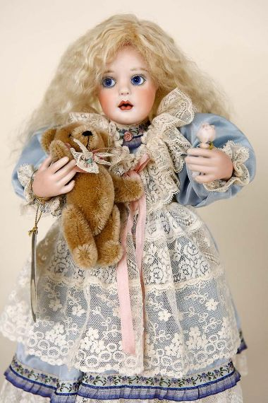 Laurel Rose - collectible limited edition porcelain soft body art doll by doll artist Ann Jackson.