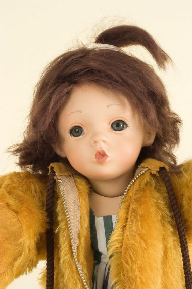 Babsie - collectible limited edition porcelain soft body art doll by doll artist Gaby Rademann.
