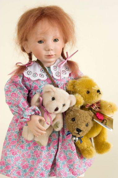 Anna and Her Bears - collectible limited edition porcelain soft body art doll by doll artist Gaby Rademann.