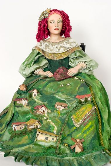The Green Dress - collectible one of a kind paperclay art doll by doll artist Nancy Wiley.