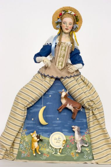 Hey Diddle Diddle - collectible one of a kind paperclay art doll by doll artist Nancy Wiley.