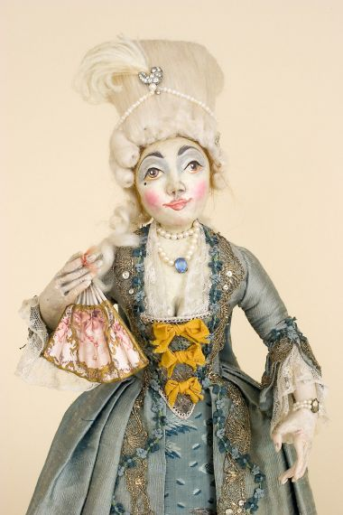 French Court Lady - collectible one of a kind polymer clay art doll by doll artist Peter Wolf.