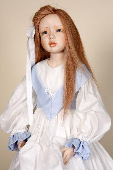 Tessa - collectible limited edition porcelain soft body art doll by doll artist Heidrun Vilz Heim.