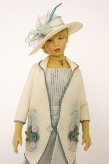 Olivia - collectible limited edition felt molded art doll by doll artist Maggie Iacono.