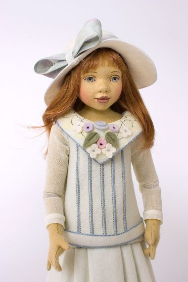 Ivy - collectible limited edition felt molded art doll by doll artist Maggie Iacono.