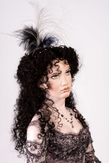 Detail image of Carmen porcelain art doll by Angela Barker