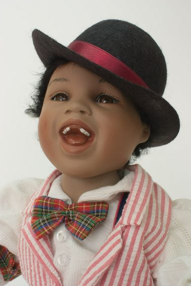 Bojingles - collectible limited edition porcelain soft body art doll by doll artist Yolanda Bello.