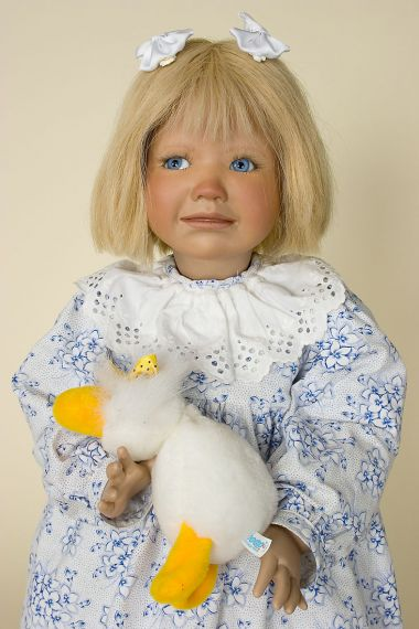 Margith - collectible limited edition porcelain soft body art doll by doll artist Inge Enderle.