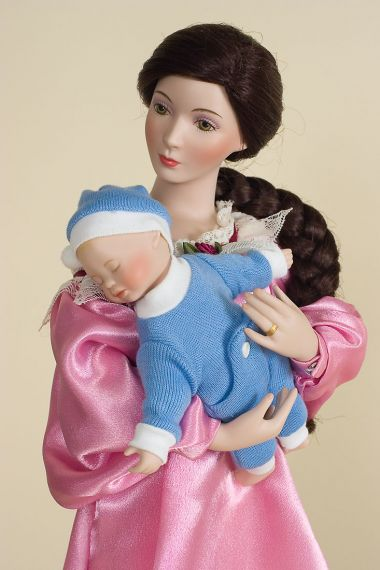 Bedtime - limited edition porcelain soft body collectible doll  by doll artist Sandra Kuck.
