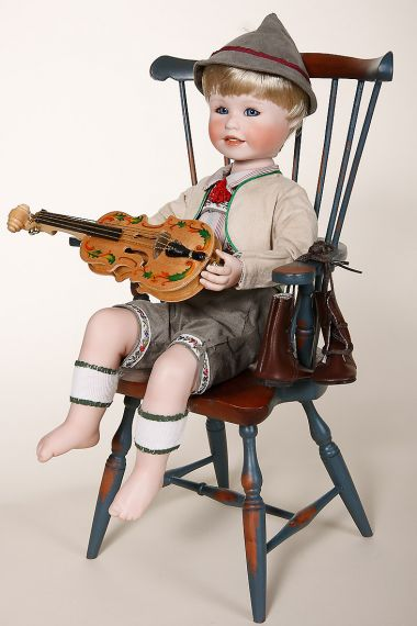 Andrew - collectible limited edition porcelain soft body art doll by doll artist Yolanda Bello.
