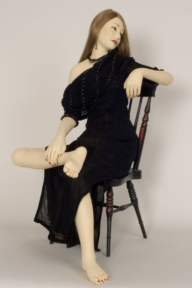 Nocturne II - collectible one of a kind stone clay art doll by doll artist Yoko Ueno.