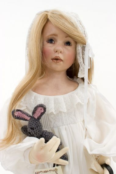 Amy Nightie - collectible limited edition shellcloth art doll by doll artist Linda Murray.