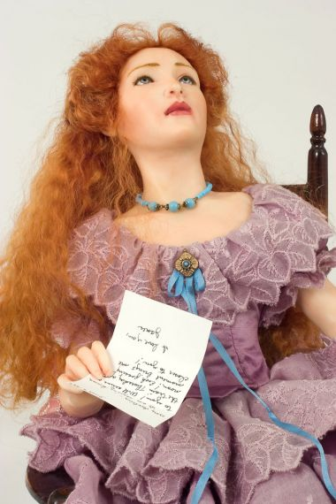 Love Struck - collectible one of a kind polymer clay art doll by doll artist Marlena Blanford.