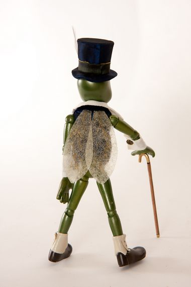 Detail image of Talking Cricket from Pinocchio wood art doll by Marlene Xenis