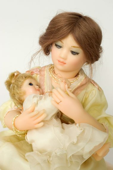 Playtime - collectible limited edition wax soft body art doll by doll artist Brenda Burke.