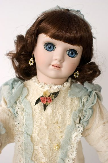 Suzie - collectible limited edition porcelain art doll by doll artist Brenda Burke.