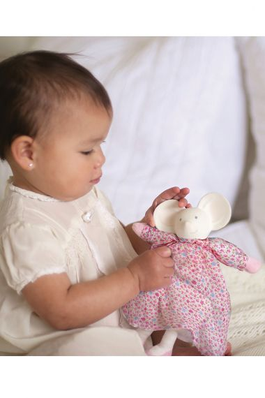 Image of Baby with Meiya Mouse natural rubber soft toy.