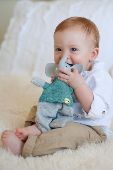 Image of baby playing with Alvin the Elephant Soft Toy