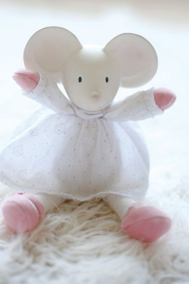 Photo of Meiya the Mouse child-safe plush toy.