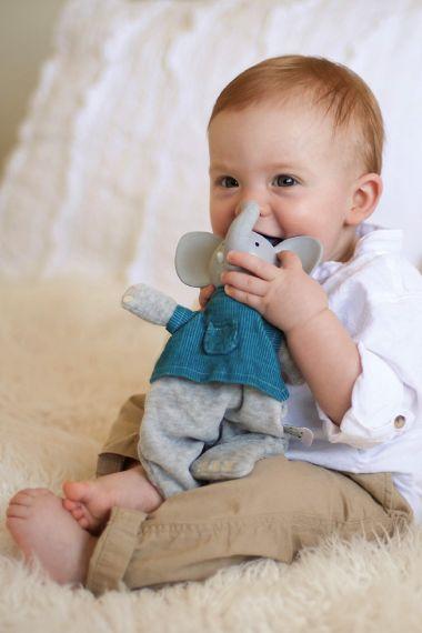 Image of Alvin elephant soft rattle toy.