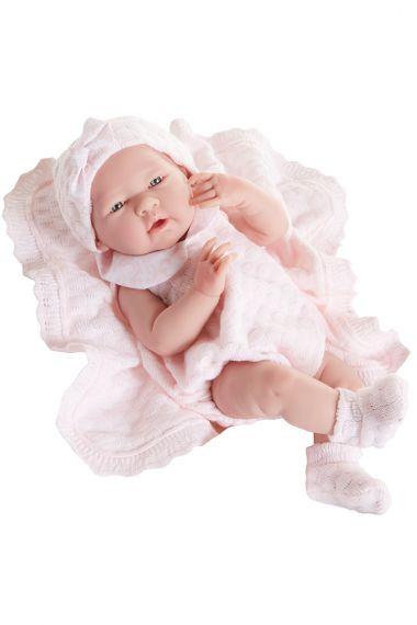 Photo of Berenguer vinyl play doll  La Newborn in pink knit.