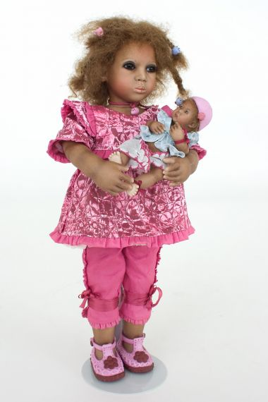 Collectible Limited Edition Porcelain doll Jami with Kiki by Annette Himstedt