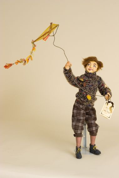 Boy with Kite Autumn - collectible one of kind polymer clay art doll by doll artist Peter Wolf.