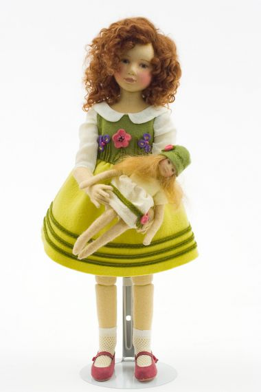 Madelyn - collectible limited edition felt molded art doll by doll artist Maggie Iacono.