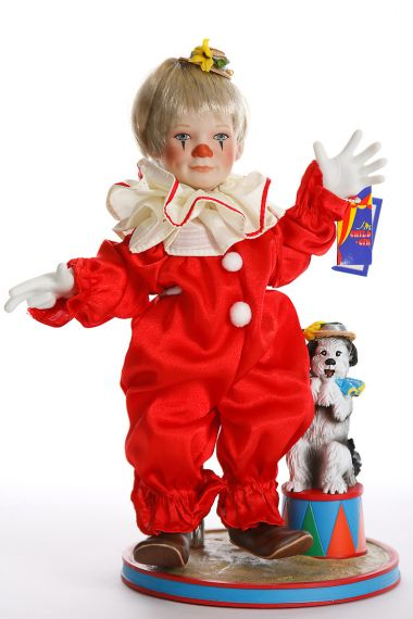Tommy the Clown - limited edition porcelain soft body collectible doll  by doll artist Ashton-Drake.