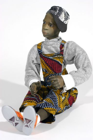 Black Boy no.3 - collectible one of a kind finished porcelain art doll by doll artist Uta Brauser.