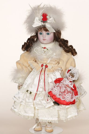 Merrie - limited edition porcelain soft body collectible doll  by doll artist Gorham.
