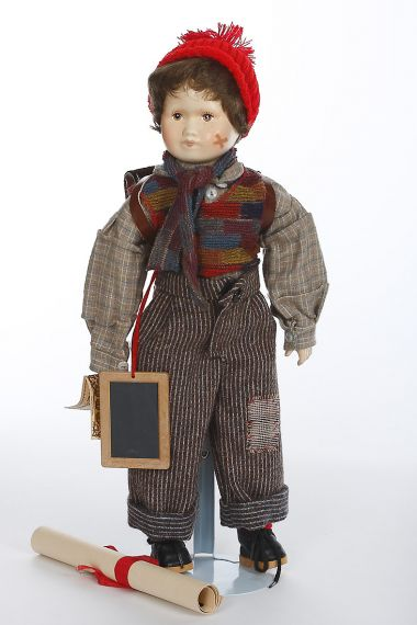 Little Fritz - limited edition porcelain soft body collectible doll  by doll artist Anker Dolls.