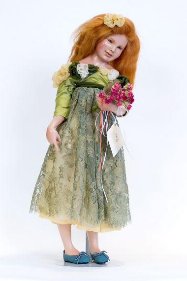 Daisy - collectible limited edition porcelain wax over art doll by doll artist Edna Dali.