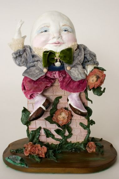 Humpty Dumpty - collectible one of a kind polymer clay art doll by doll artist Linda Kertzman.