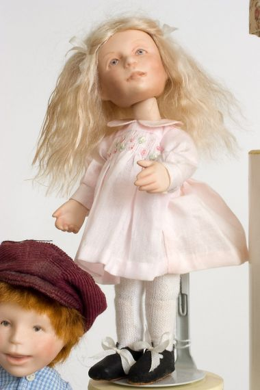 Button Box Kid Kristal - limited edition porcelain collectible doll  by doll artist Hal Payne.