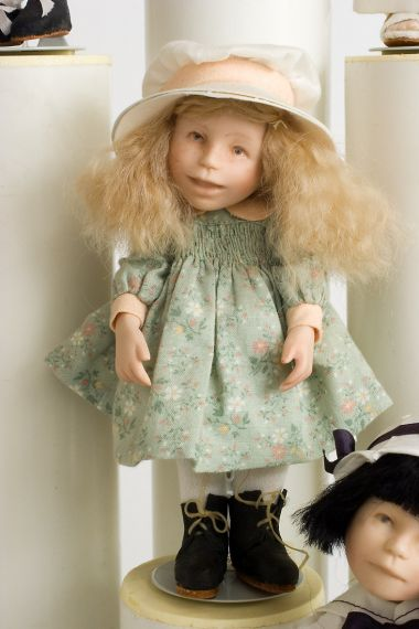 Button Box Kid Bunny - limited edition porcelain collectible doll  by doll artist Hal Payne.