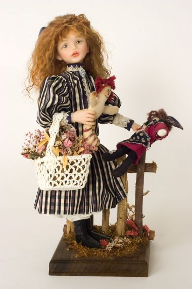 Joanna - collectible one of a kind polymer clay art doll by doll artist Linda Kertzman.
