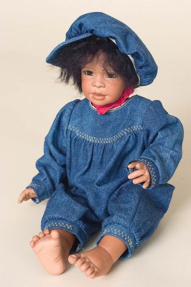 Flavio - collectible prototype porcelain soft body art doll by doll artist Renate Hockh.