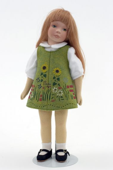 Angie - collectible limited edition felt molded art doll by doll artist Maggie Iacono.