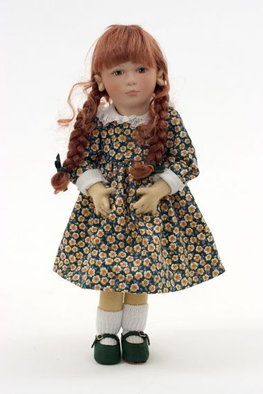 Rebecca - collectible limited edition felt molded art doll by doll artist Maggie Iacono.