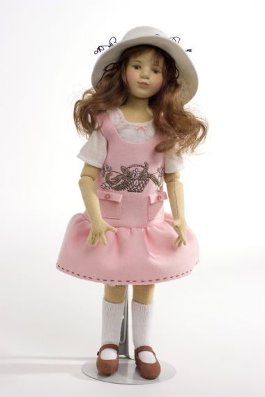 Jackie - collectible limited edition felt molded art doll by doll artist Maggie Iacono.